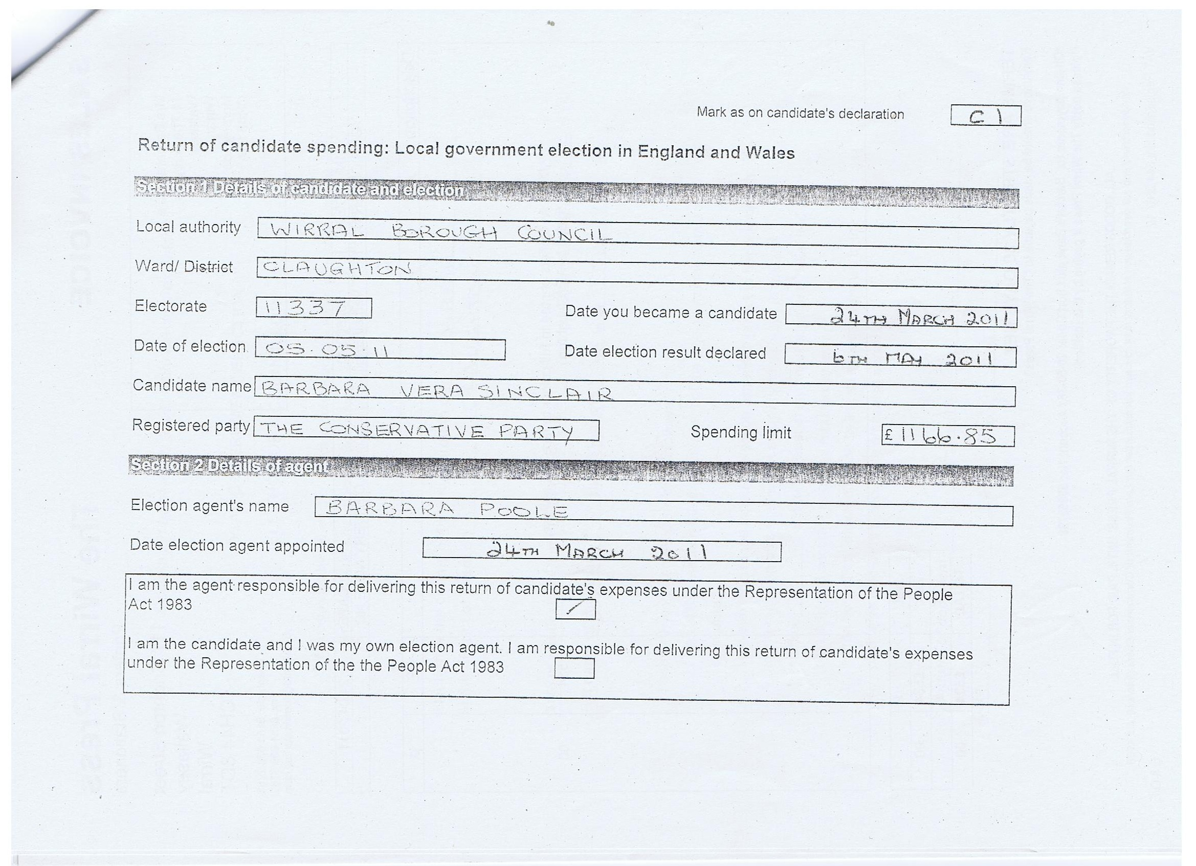 Election Expenses Barbara Sinclair Page 1 Claughton Wirral Council 2011 Section 1 Details of candidate and election Section 2 details of agent