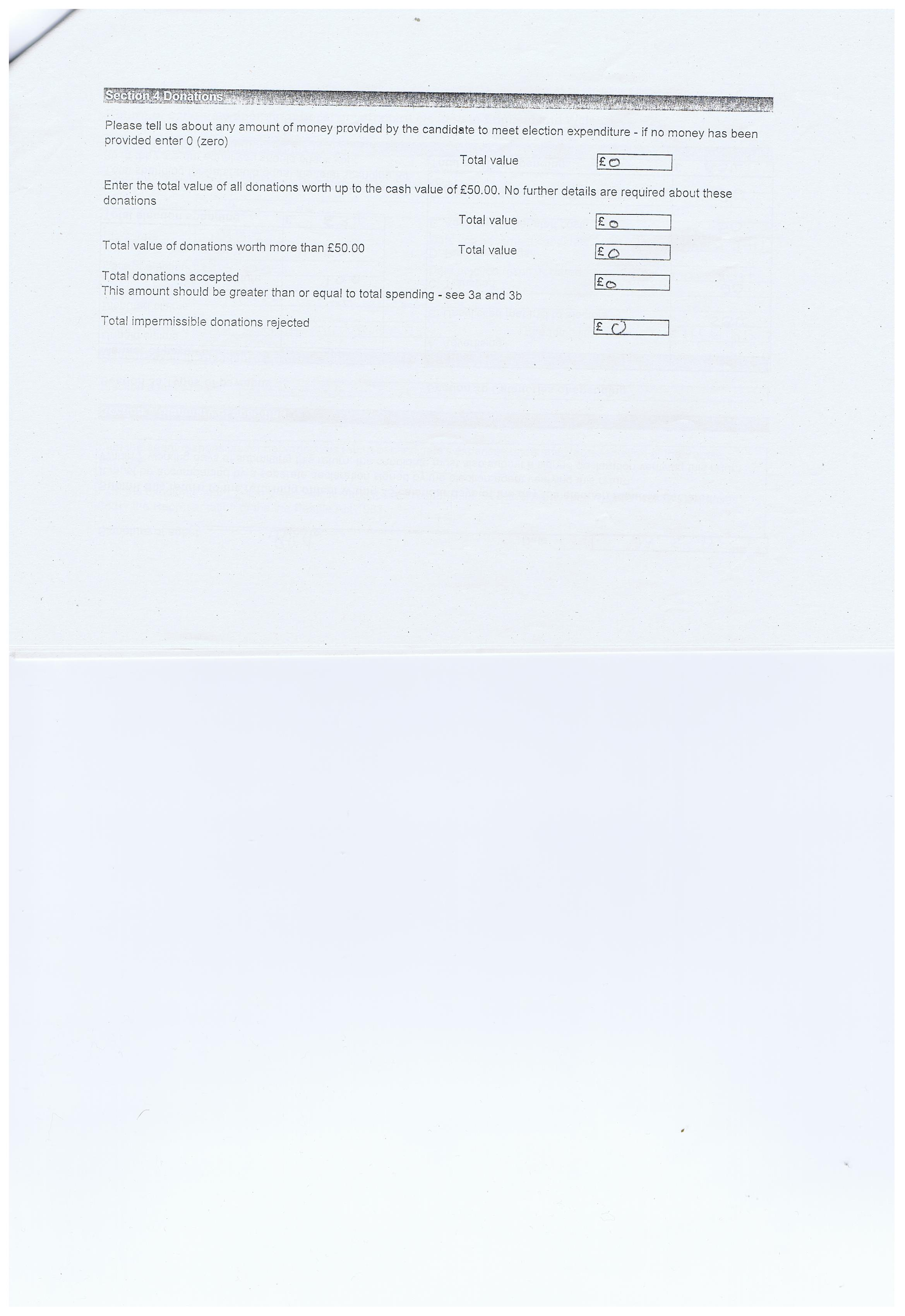 Election expenses Barbara Sinclair Page 3 Claughton Wirral Council 2011 Section 4 Donations