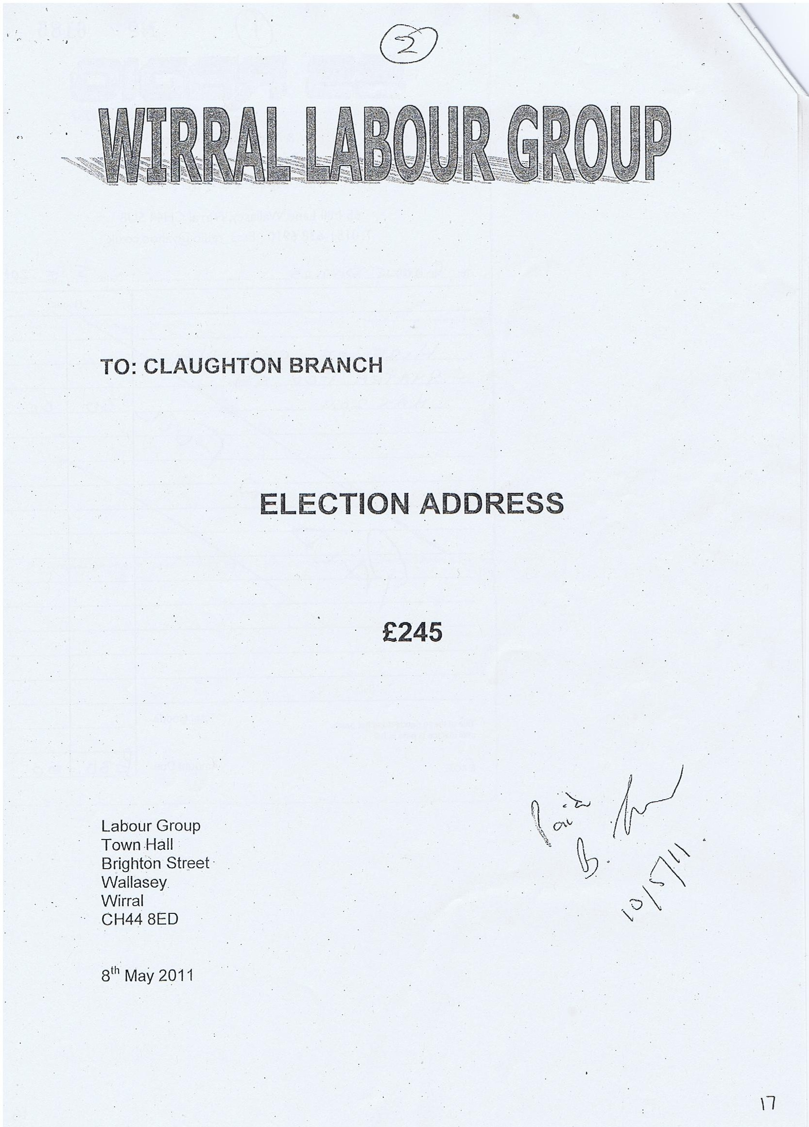 Election Expense Invoice Steve Foulkes Wirral Council election (Claughton ward) 2011 Labour Group Election Address £245