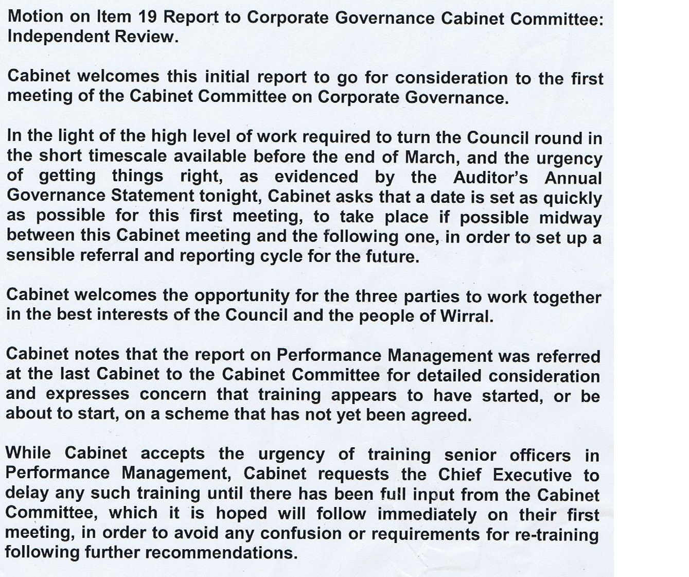 Motion item 19 Wirral Council Cabinet 13/10/2011