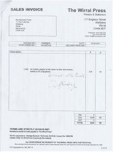 Election Expenses Barbara Sinclair Claughton ward 2011 Page 14 The Wirral Press Invoice £534 7000 A4 Colour
