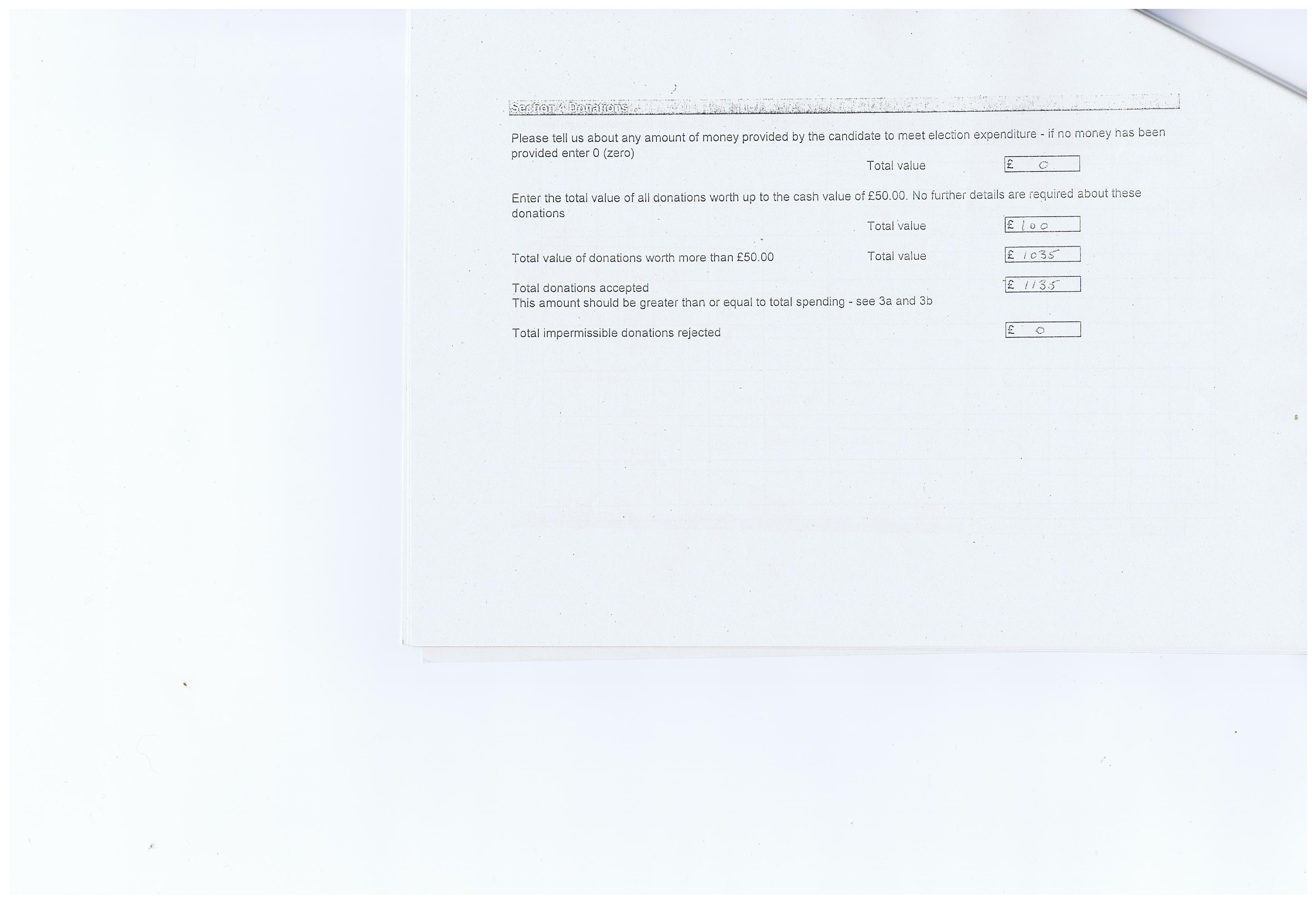 Election expenses Simon Holbrook Page 5 Prenton Wirral Council 2011 Section 4 Donations