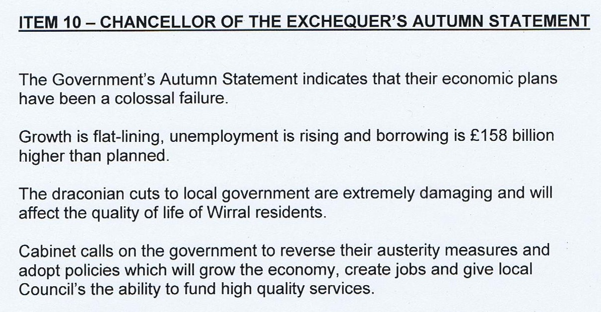 Autumn statement motion (Wirral Council) Cabinet 8/12/2011
