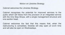 Libraries motion (Cabinet) Wirral Council 8/12/2011