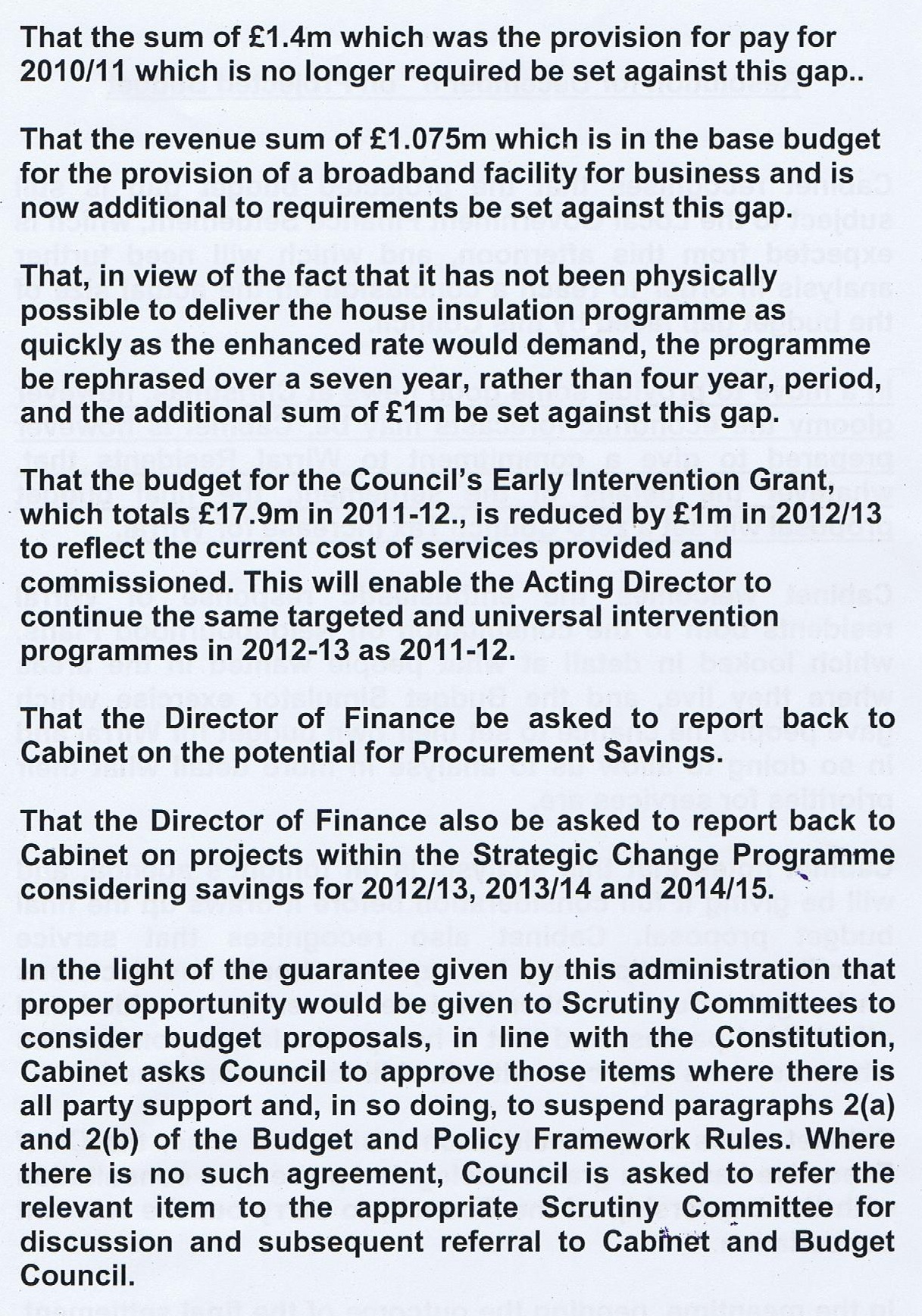 Projected Budget Motion (Wirral Council) Cabinet 8th December 2011 Page 2 of 2