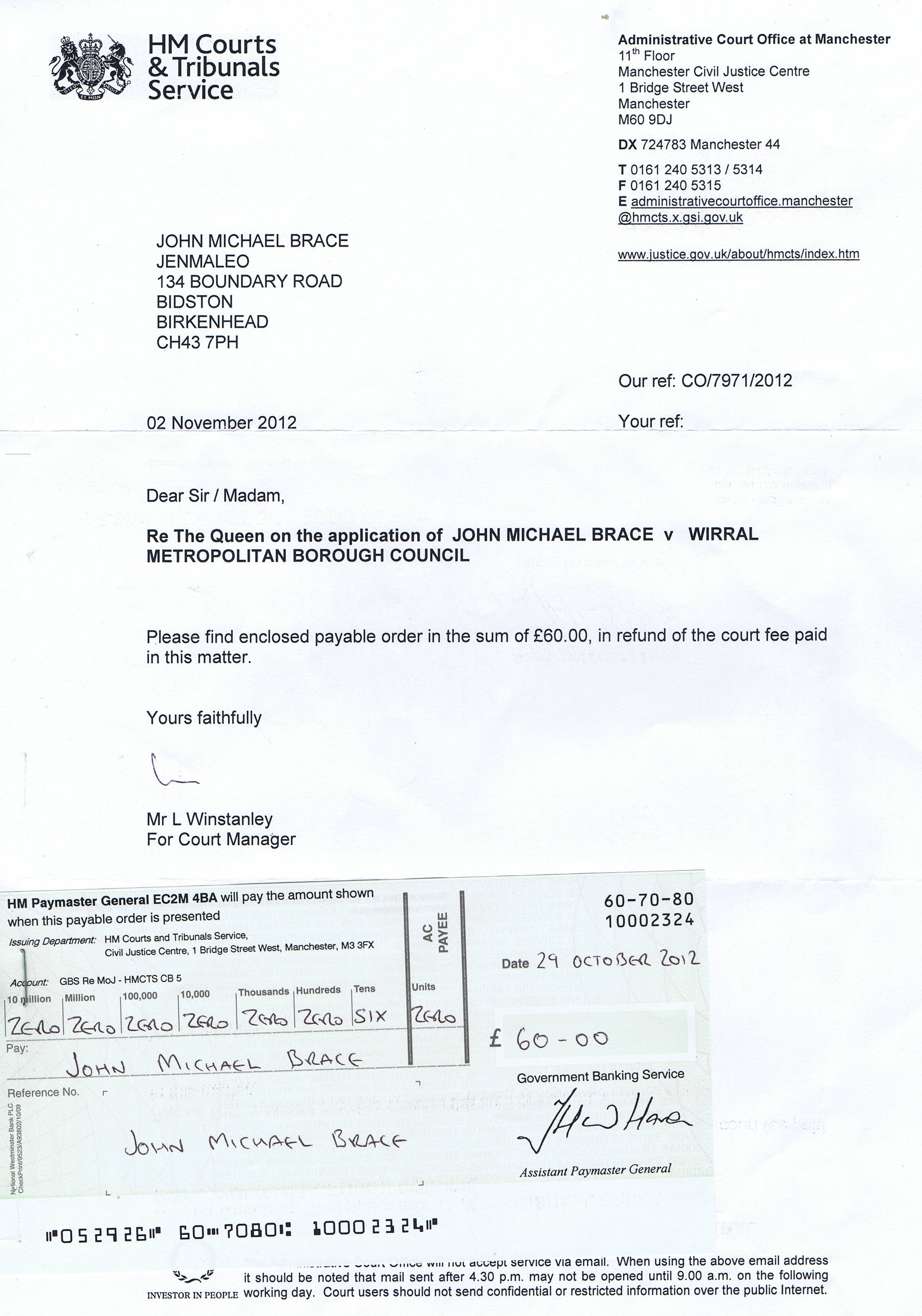 Administrative Court letter and £60 cheque for refund of court fee