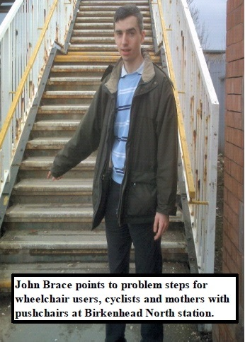 Birkenhead North railway station steps (problems with disabled access)