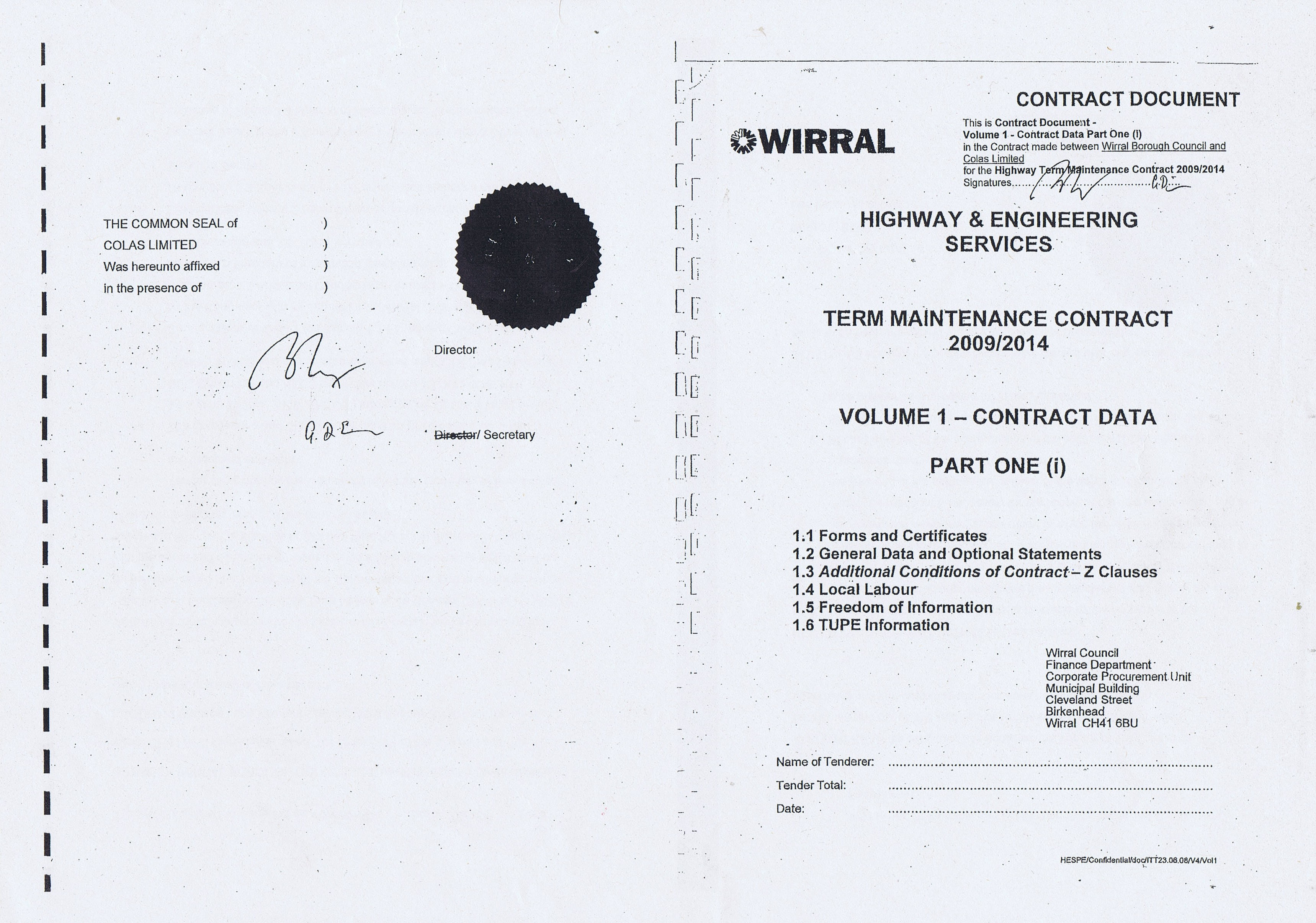 Wirral Council Colas Highways and Engineering Services Contract Page 1