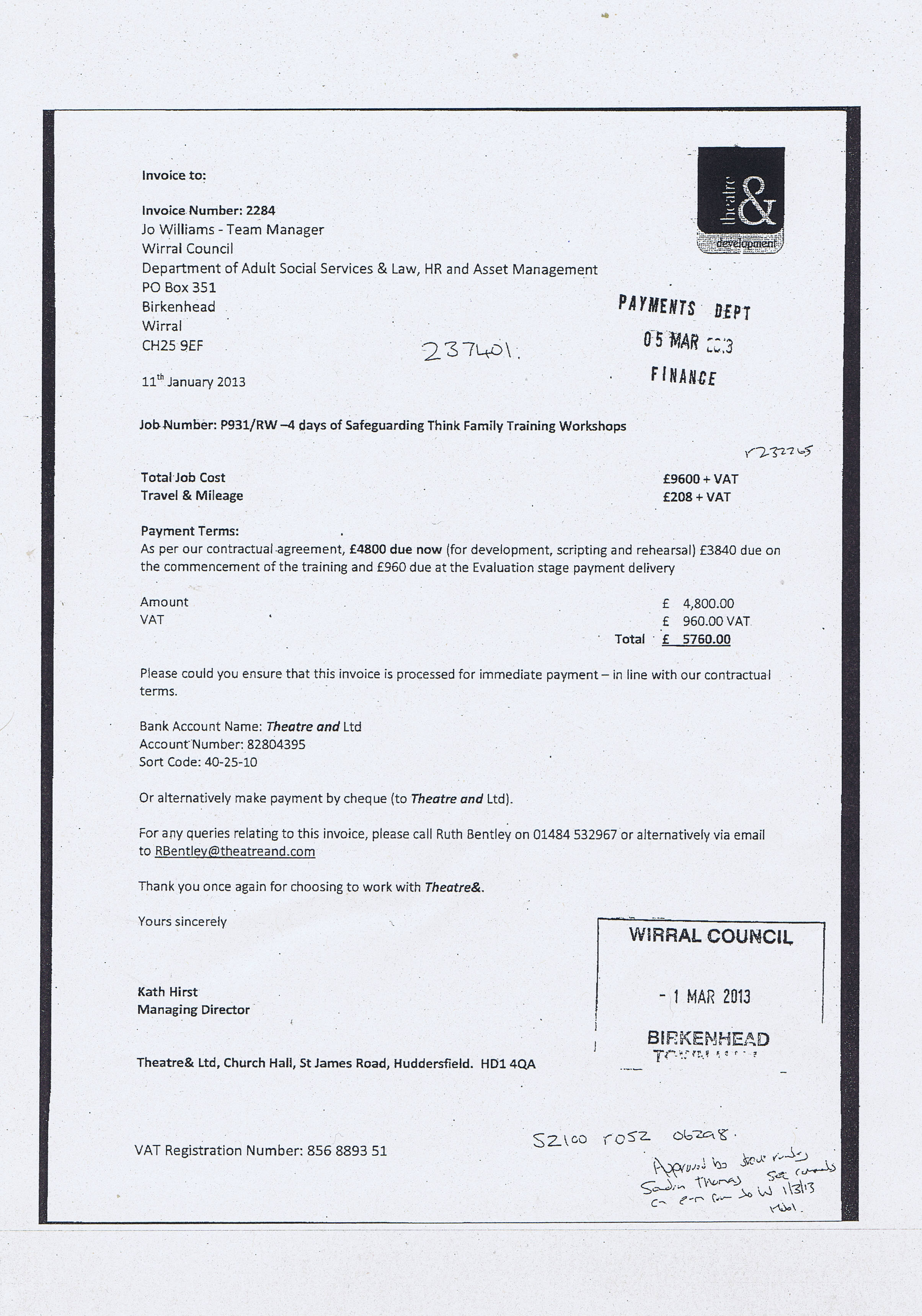 Wirral Council Theatre and invoice January 2013