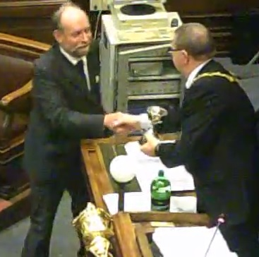 Cllr Phil Gilchrist presented with Andy Day Memorial Cup by former Mayor Cllr Dave Mitchell
