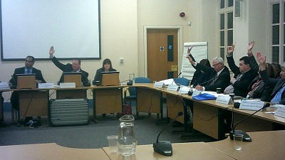 Labour councillors at a public meeting of Wirral Council's Coordinating Committee voting to consult on closing Lyndale School (27th February 2014)