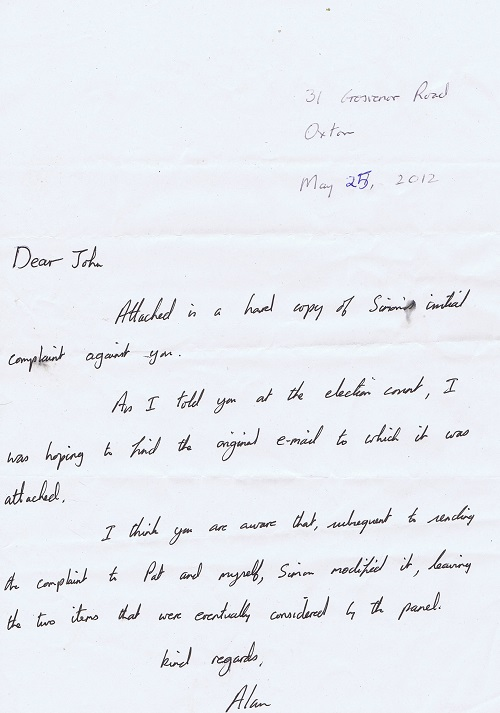 letter from Alan Brighouse to John Brace May 2012