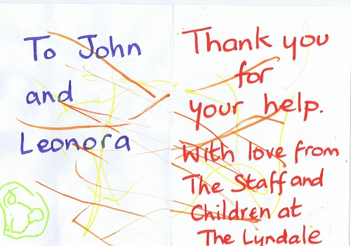 inside of thank you card from Lyndale staff and children