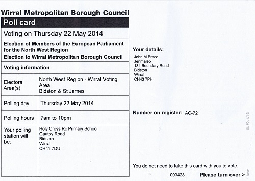 My polling card for the 2014 election (North West Region)