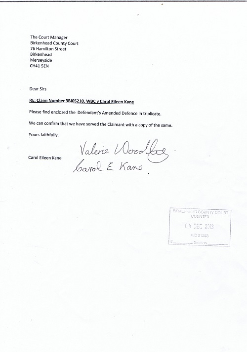 Amended Defence Letter