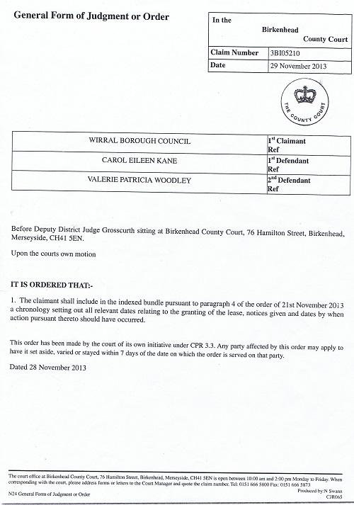 Court Order (29th November 2013)