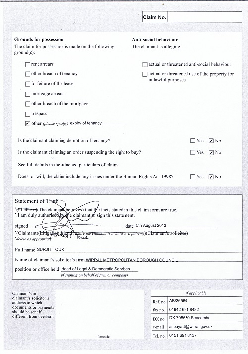 Wirral Council v Kane & Woodley N5 Claim form for possession of property page 2 of 2 thumbnail