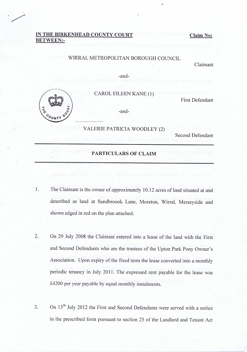 Wirral Council v Kane & Woodley Particulars of Claim page 1 of 3 thumbnail