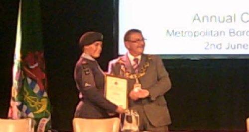 Mayor of Wirral Cllr Dave Mitchell awards the Cadet of the Year Award (2014)