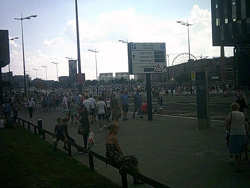 Crowds gathered outside Merseytravel headquarters