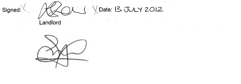 comparison of signature on eviction notice to Surjit Tour's