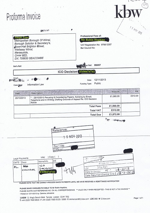 Partially unredacted invoice relating to an appeal to ICO Decision Notice FS50474741 (Robin Hopkins of 11KBW) Metropolitan Borough of Wirral for £1872 (invoice 117)