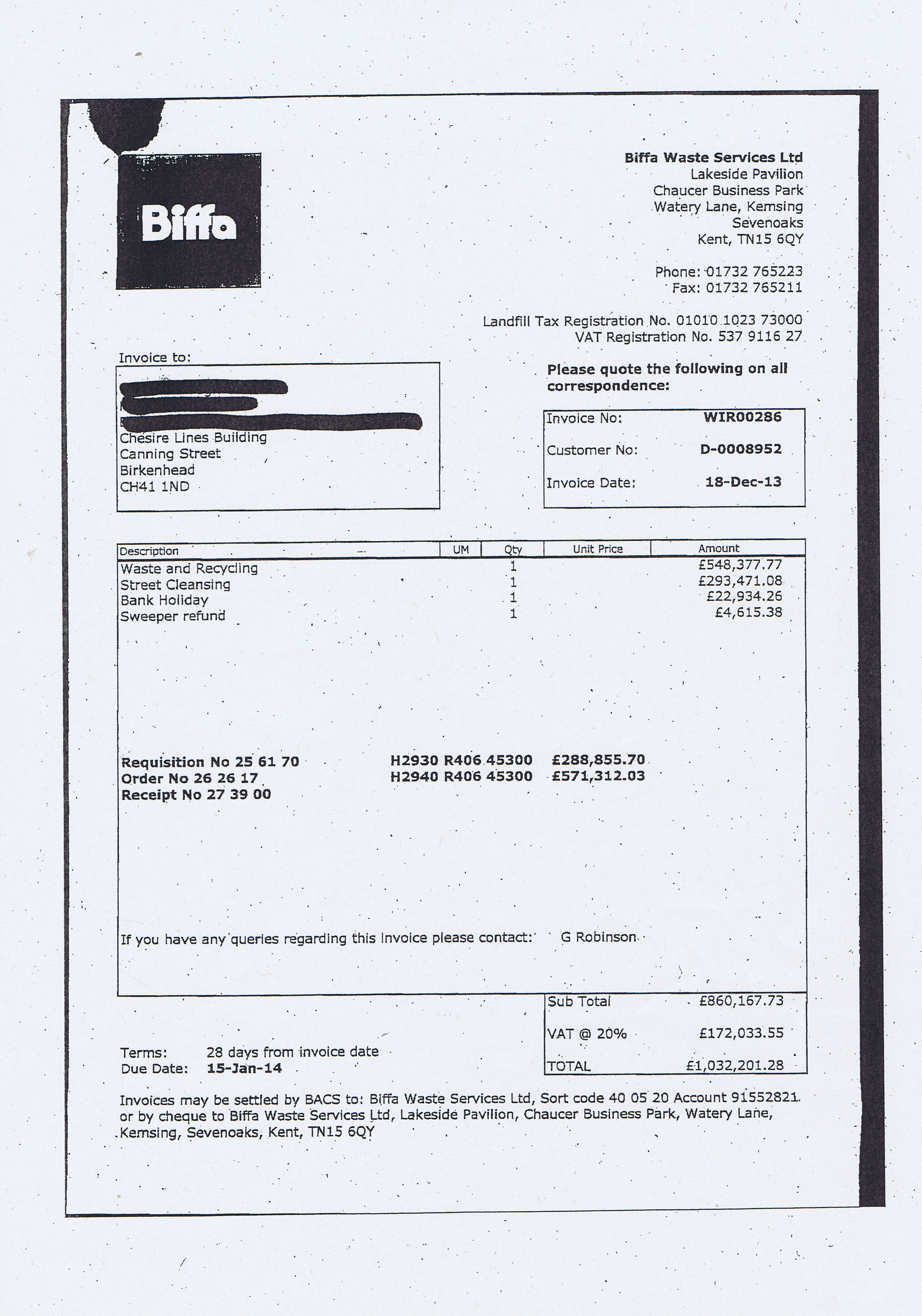 biffa asks wirral s cabinet for a year extension to bins biffa waste service limited 2013 invoice wirral council pound1032201 28