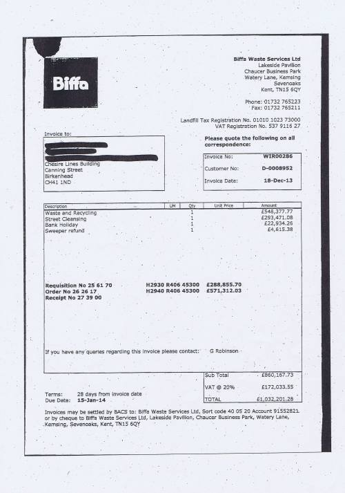Biffa Waste Service Limited December 2013 Invoice Wirral Council £1032201.28