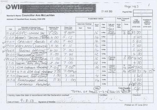 Cllr Ann McLachlan expenses claim 2013 2014 page 10