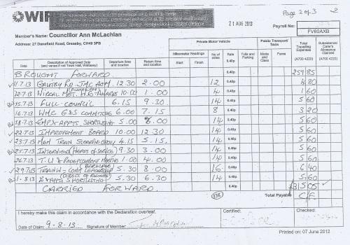 Cllr Ann McLachlan expenses claim 2013 2014 page 11