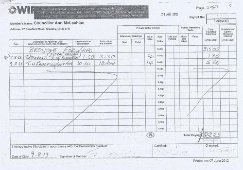 Cllr Ann McLachlan expenses claim 2013 2014 page 12