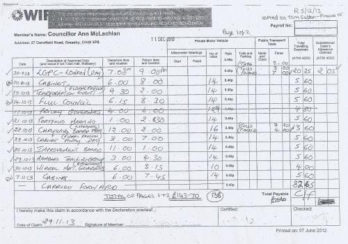 Cllr Ann McLachlan expenses claim 2013 2014 page 13