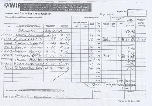 Cllr Ann McLachlan expenses claim 2013 2014 page 14