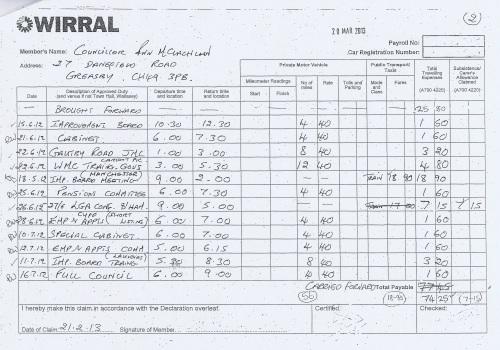 Cllr Ann McLachlan expenses claim 2013 2014 page 2