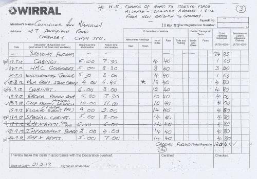 Cllr Ann McLachlan expenses claim 2013 2014 page 3