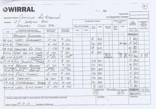 Cllr Ann McLachlan expenses claim 2013 2014 page 4