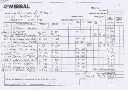 Cllr Ann McLachlan expenses claim 2013 2014 page 7