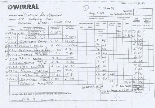 Cllr Ann McLachlan expenses claim 2013 2014 page 8