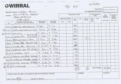 Cllr Cherry Povall expenses claim page 1