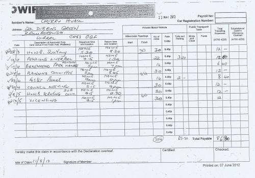 Cllr Cherry Povall expenses claim page 3