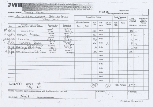 Cllr Cherry Povall expenses claim page 4