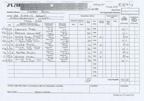 Cllr Cherry Povall expenses claim page 5