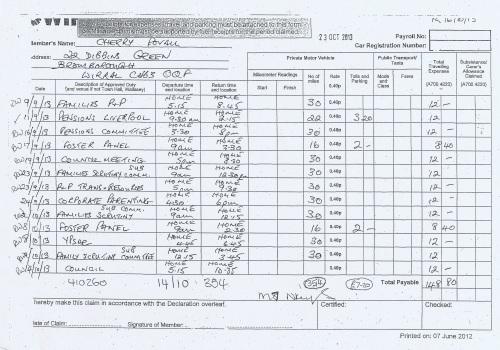 Cllr Cherry Povall expenses claim page 6