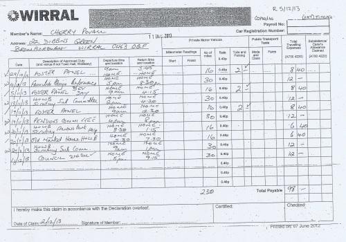 Cllr Cherry Povall expenses claim page 7