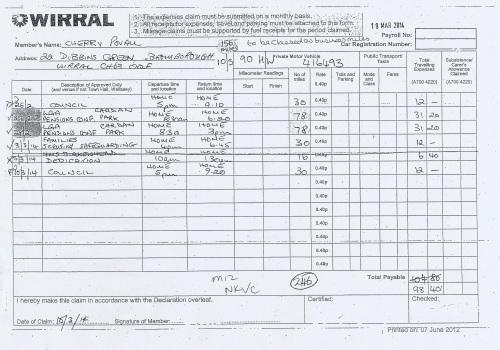 Cllr Cherry Povall expenses claim page 8