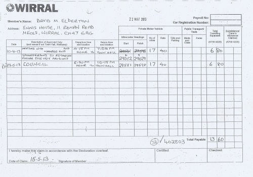 Cllr David Elderton expenses claim 2013 2014 page 1