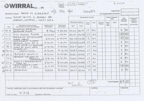 Cllr David Elderton expenses claim 2013 2014 page 10