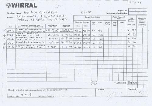 Cllr David Elderton expenses claim 2013 2014 page 2