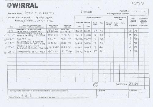 Cllr David Elderton expenses claim 2013 2014 page 3
