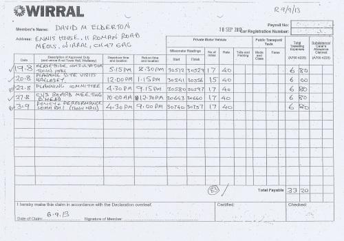 Cllr David Elderton expenses claim 2013 2014 page 4